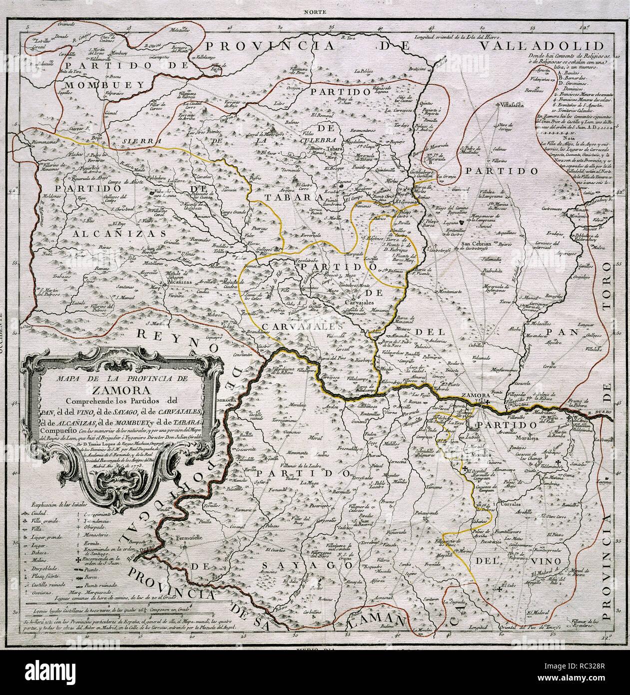 Mapa De Zamora Provincia.Mapa De La Provincia De Zamora 1773 Author Lopez Tomas