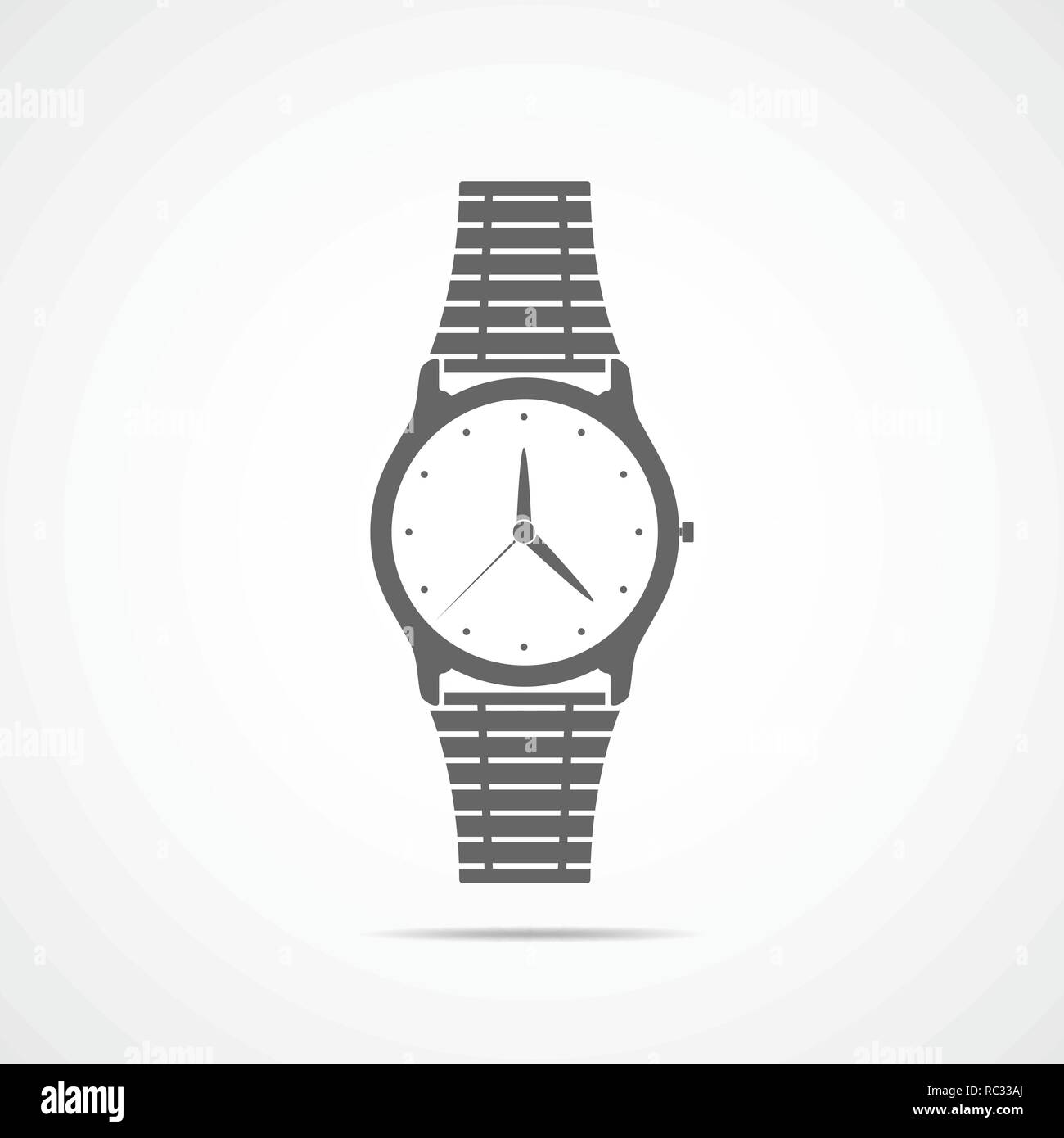 Wristwatch icon in flat design. Vector illustration. Gray wristwatch icon isolated on light background. - Stock Image