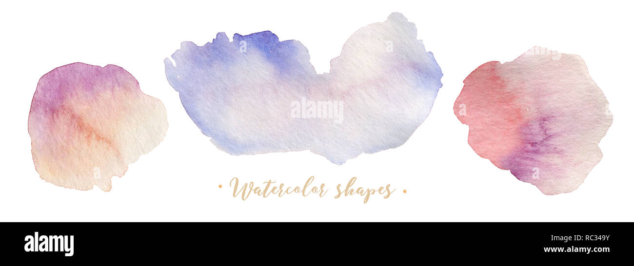 Collection of watercolor banners shape blots, isolated on white backgraund with water brash. Abstract texture element. Colorful graphic illustration painting. - Stock Image