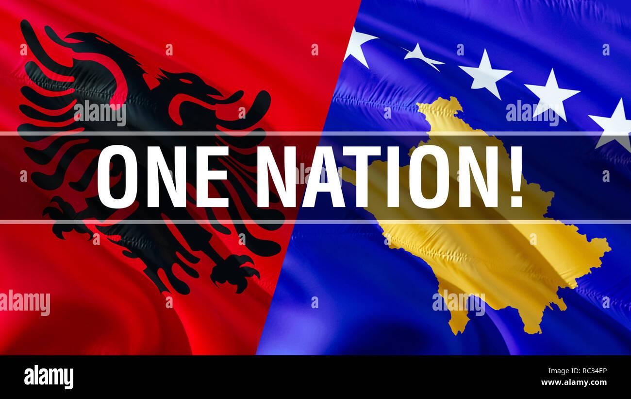 One nation on Albania and Kosovo flags. Waving flag design,3D rendering. Albania Kosovo flag, picture, wallpaper, image. Albanian Kosovar relations al Stock Photo