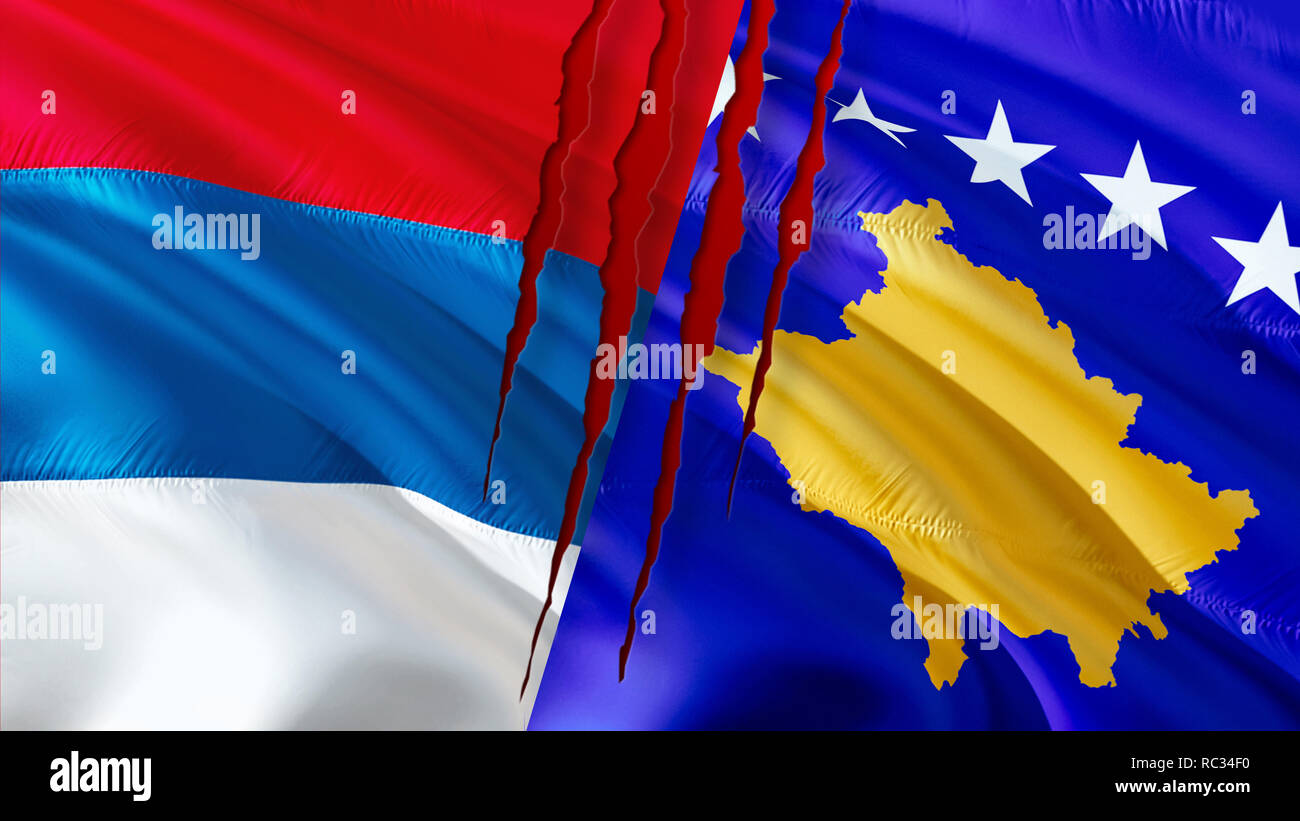 Serbia and Kosovo flags with scar concept. Waving flag design,3D rendering. Serbia Kosovo flag pictures, wallpaper image. Serbian Kosovar relations wa Stock Photo