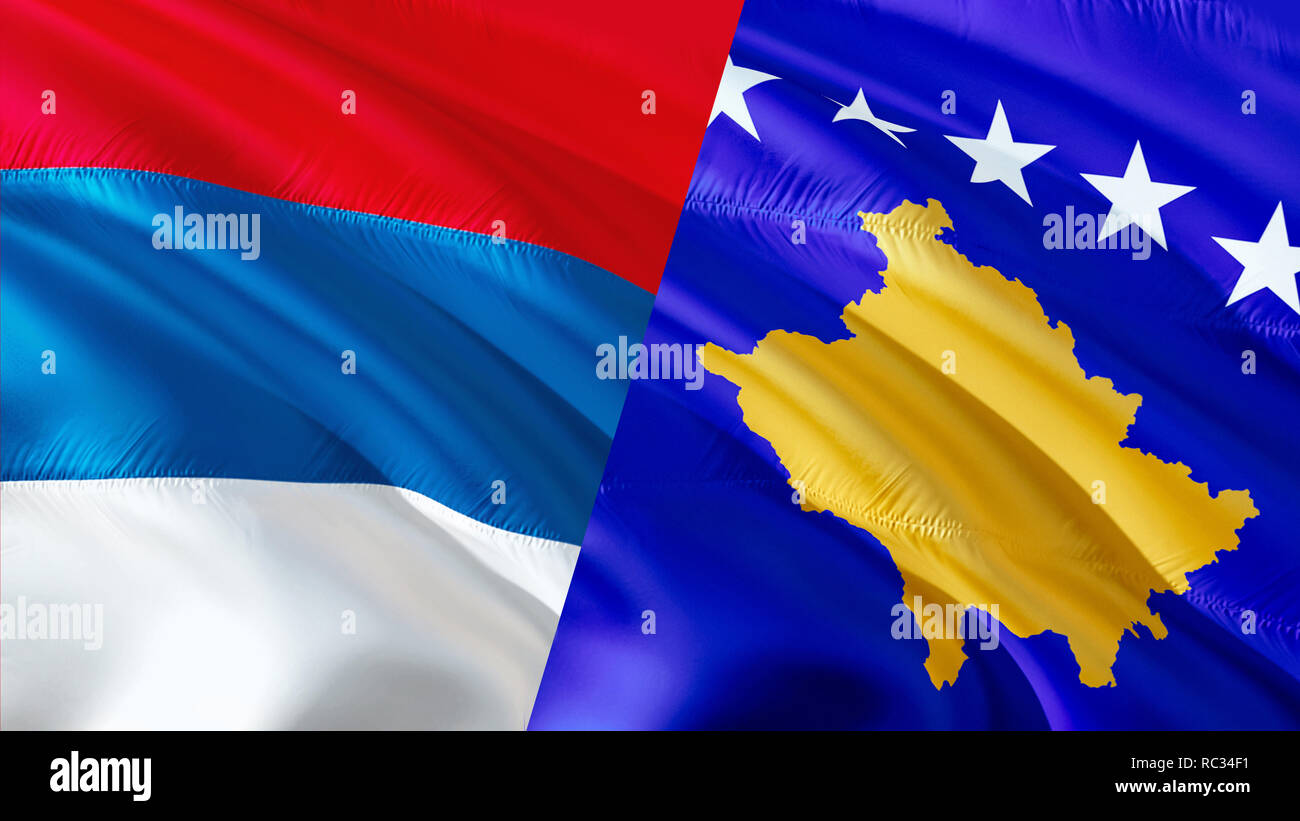 Serbia and Kosovo flags. Waving flag design,3D rendering. Serbia Kosovo flag pictures, wallpaper image. Serbian Kosovar relations war alliance concept Stock Photo