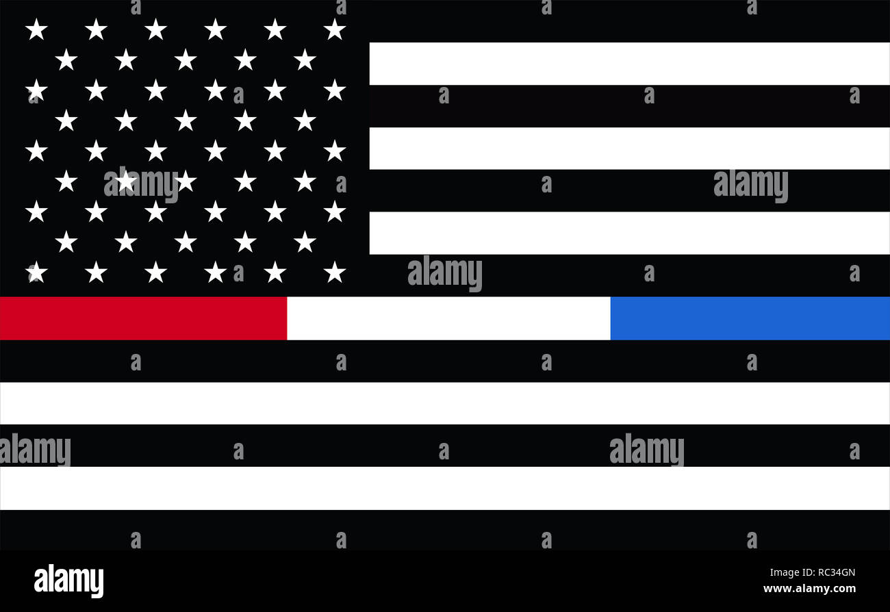 Representing combined support for police, firefighters, 911, Corrections or Federal Agents United States. USA American 911 Flag. emergency medical res - Stock Image