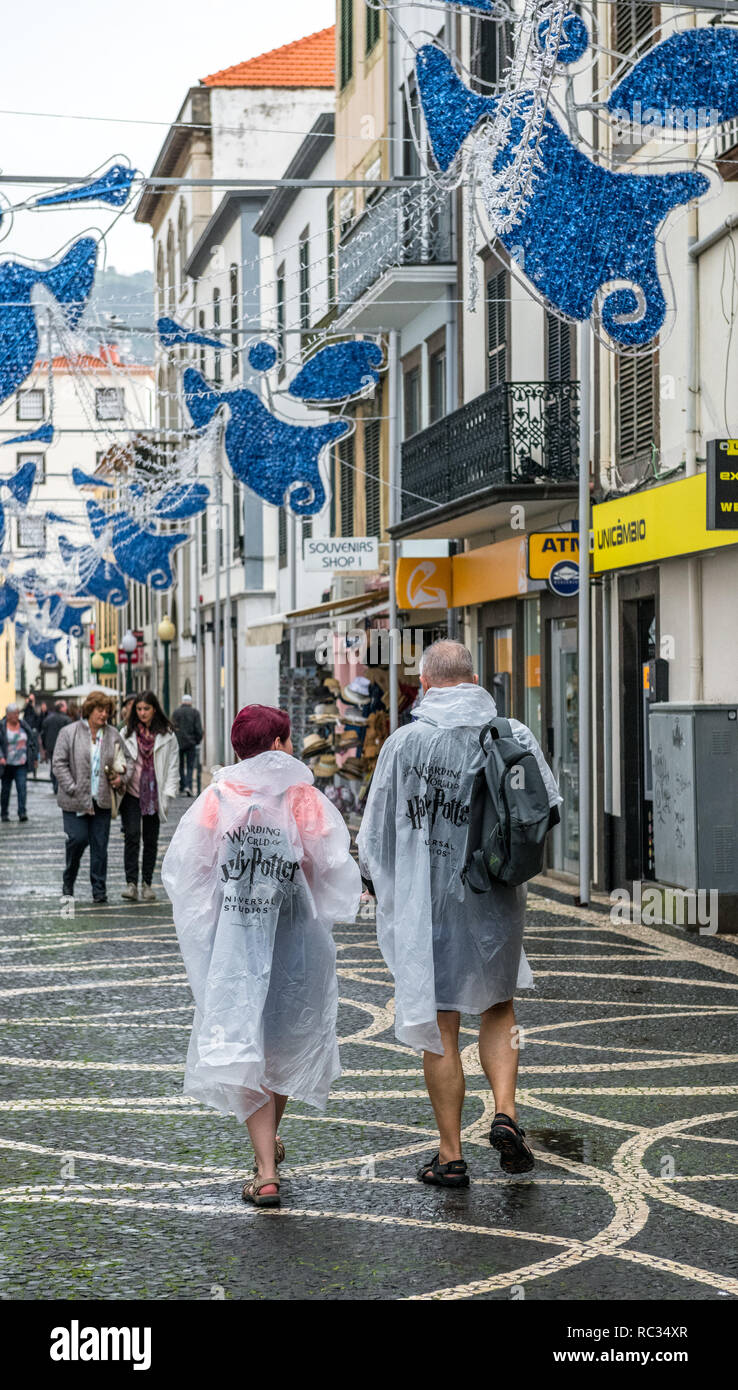 Tourist in the rain wearing 'The Wizarding World of Harry Potter' clear poncho. - Stock Image