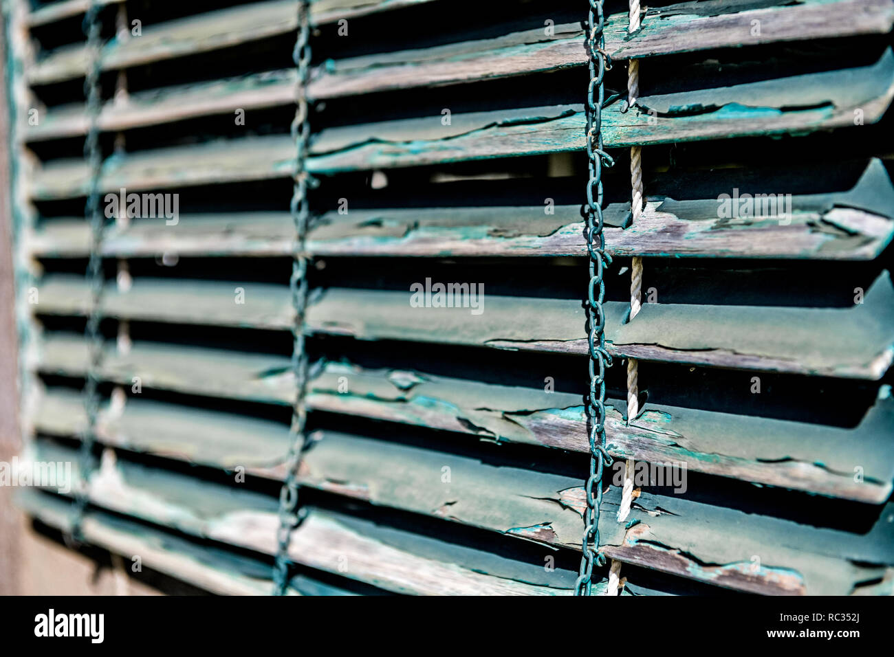 Peeling Paint Coming Away From Wooden Venetian Blinds Stock Photo Alamy