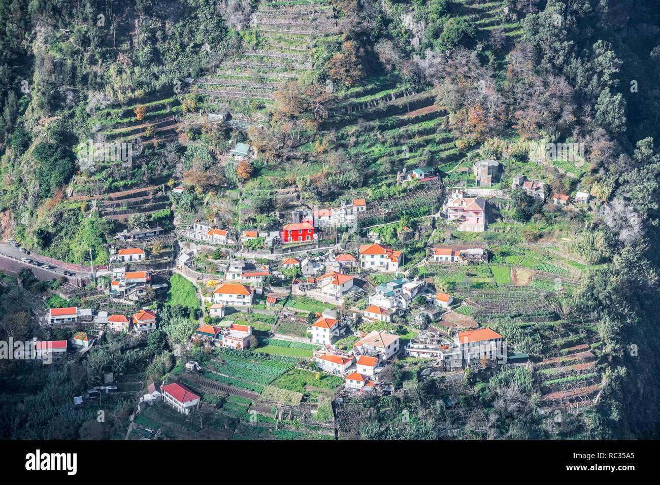 Nuns Valley 'Curral das Freiras', a small mountain village in the heart of Madeira. - Stock Image