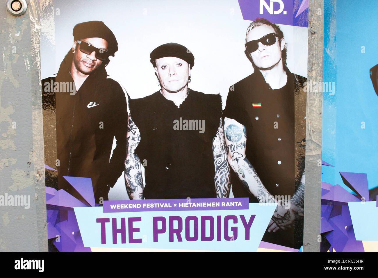 Werbujng fuer einen Auftritt der Band 'The Prodigy' (Keith Flint, Liam Howlett, Keith Palmer alias Maxim Reality), Helsinki   (nur fuer redaktionelle  - Stock Image