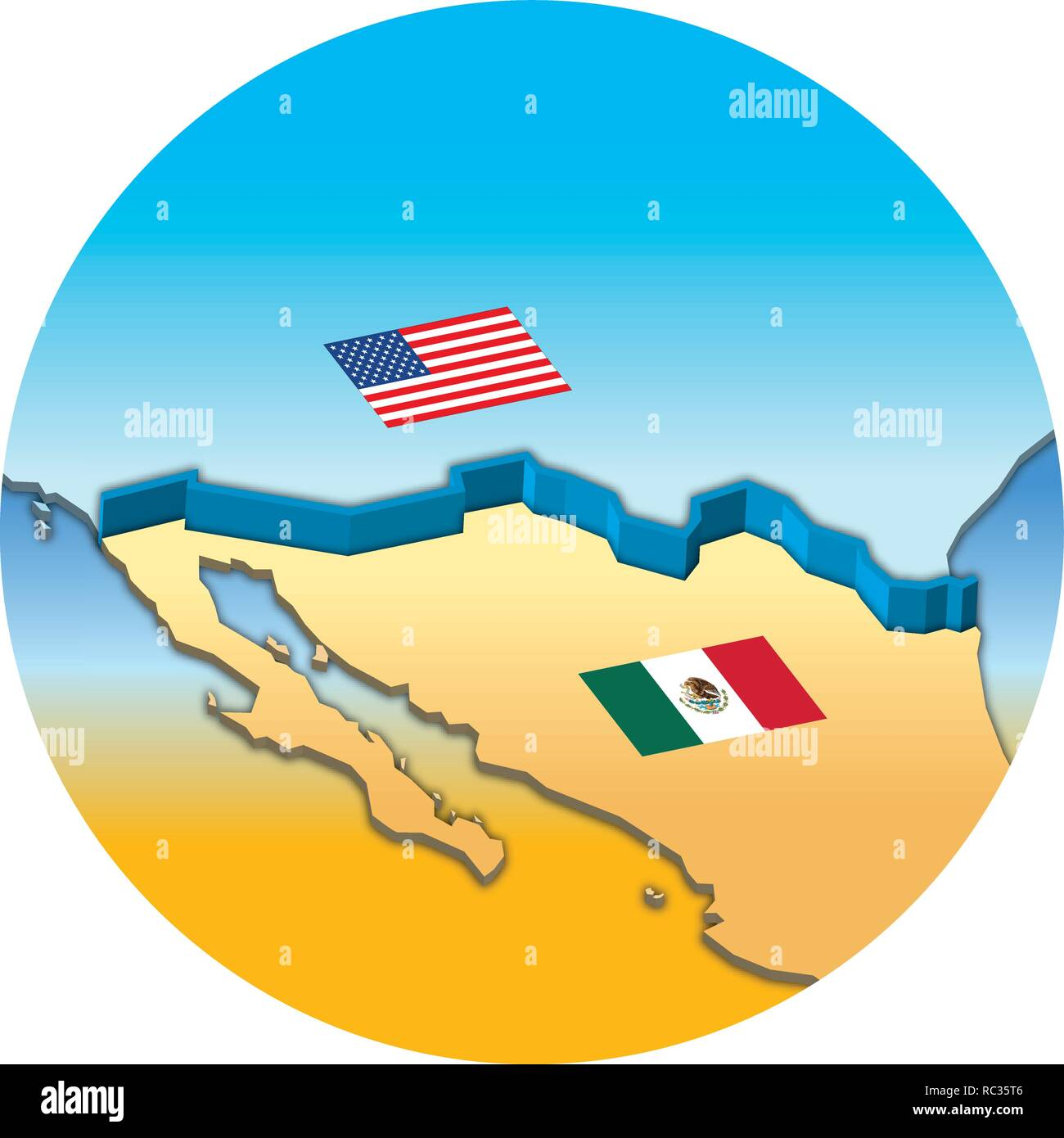 Usa Border Map Mexico Stock Photos Usa Border Map Mexico Stock