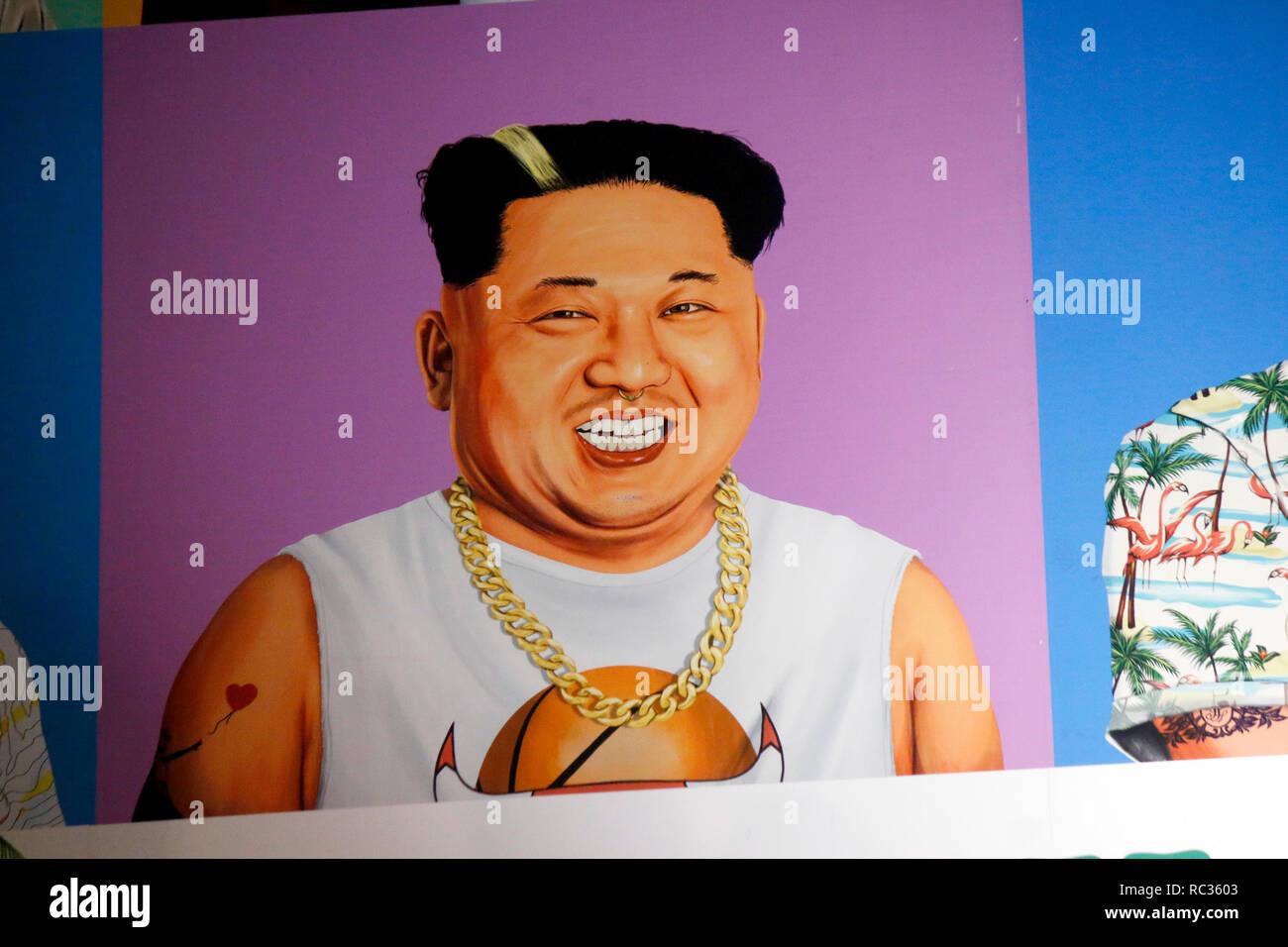 Kim Jong il als Hipster, Tel Aviv, Israel. - Stock Image