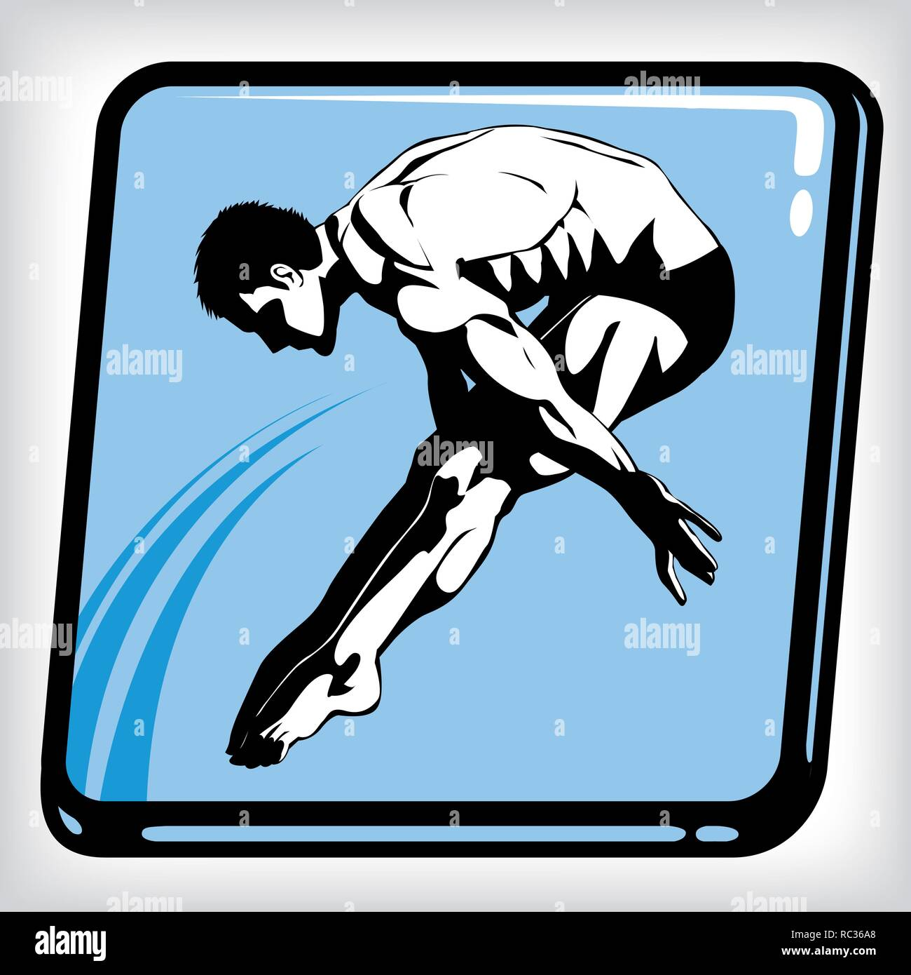 Dynamic Icon Of Man Diving Into Swimming Pool Stock Vector