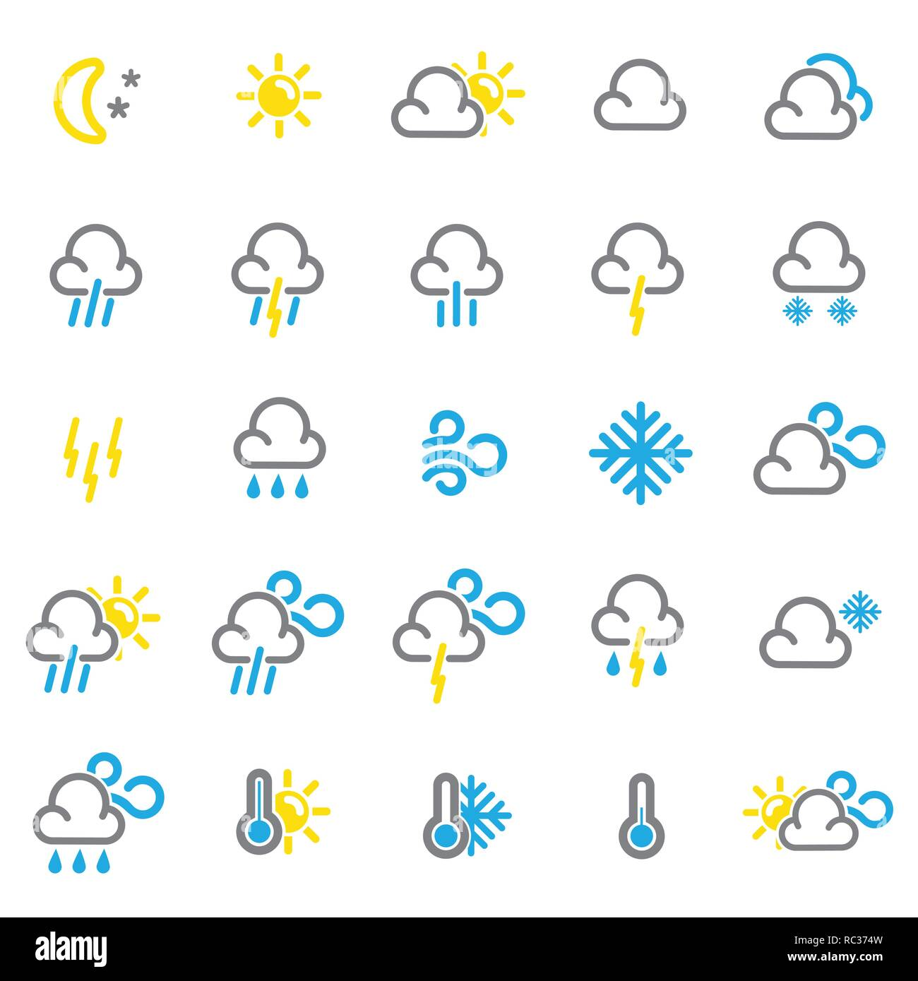 Weather forecast color icons set on white background for graphic and web design, Modern simple vector sign. Internet concept. Trendy symbol for website design web button or mobile app. - Stock Image