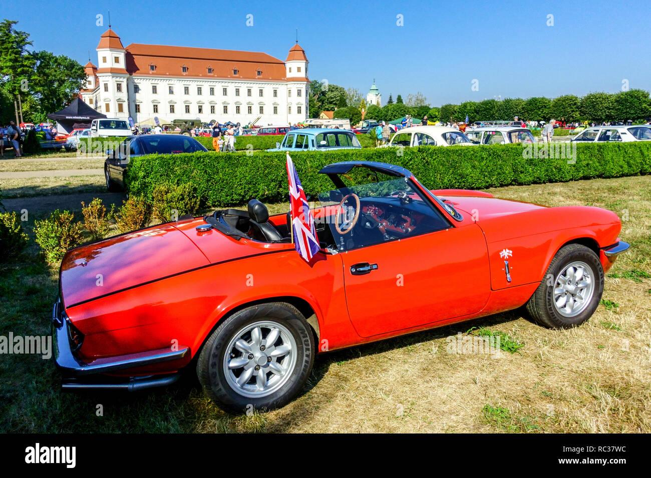 Triumph Spitfire 1500. 1970s, Holesov Castle garden, Czech Republic - Stock Image