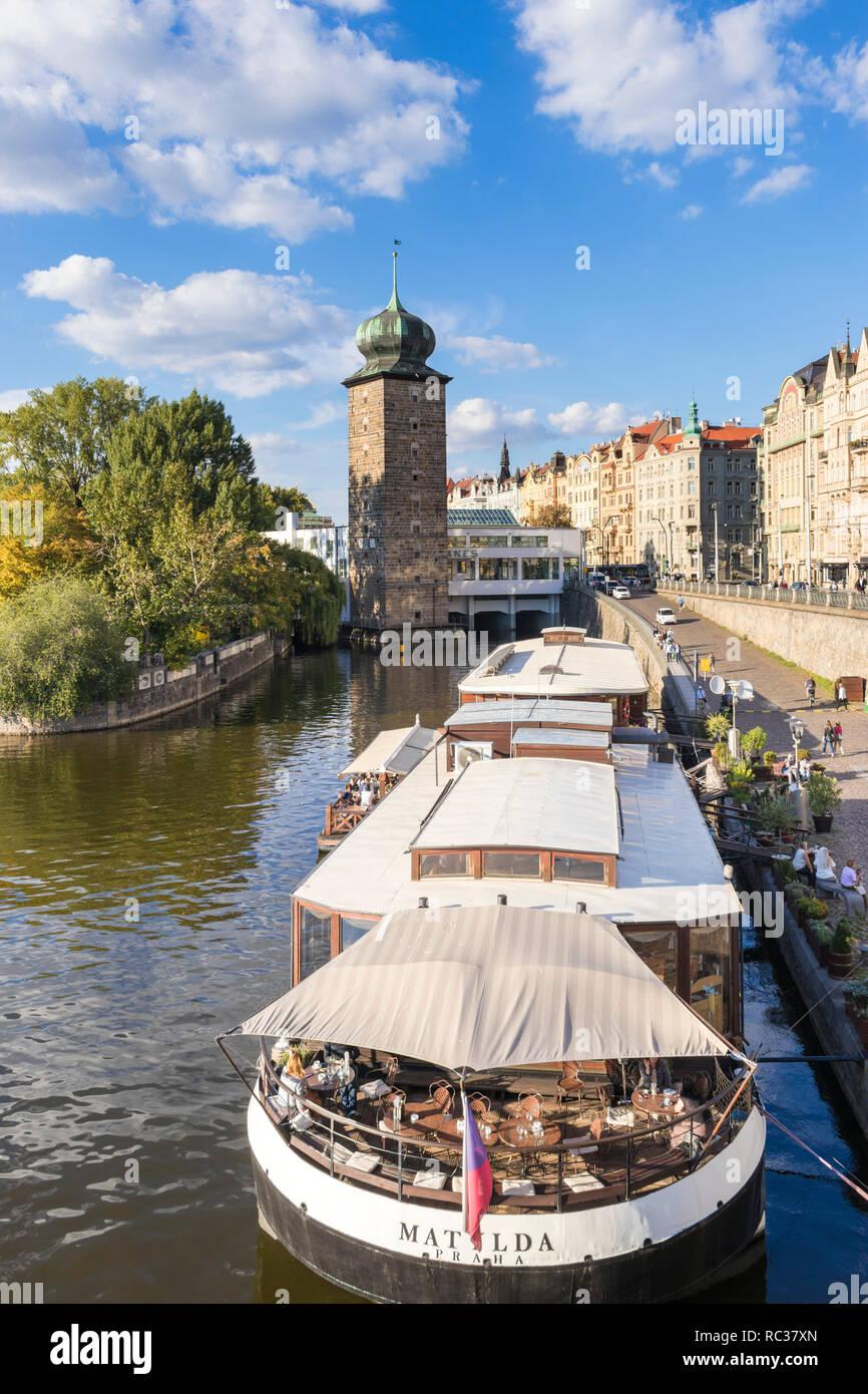 Prague Botel Matylda or boat hotel Matilda moored on the riverbank of the River Vltava Prague Czech republic EU Europe - Stock Image