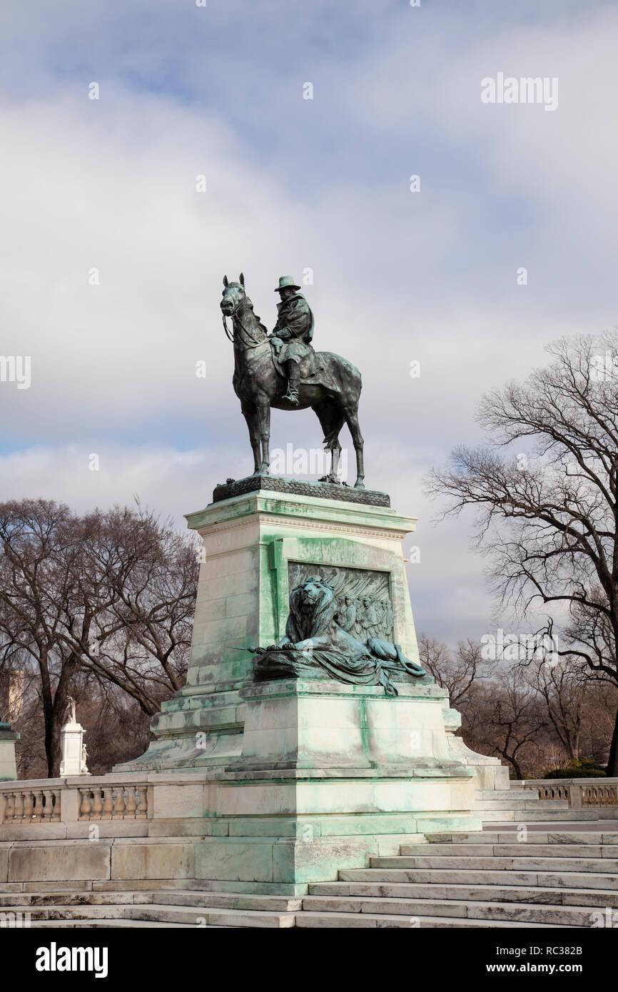 Ulysses S Grant statue, a presidential memorial in Washington, D.C., honoring American Civil War general Stock Photo