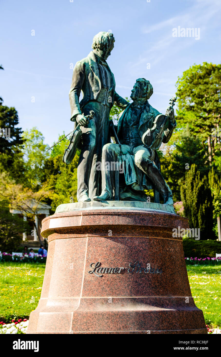Monument to the great Austrian composers Lanner and Strauss in Baden near Vienna. Austria Stock Photo