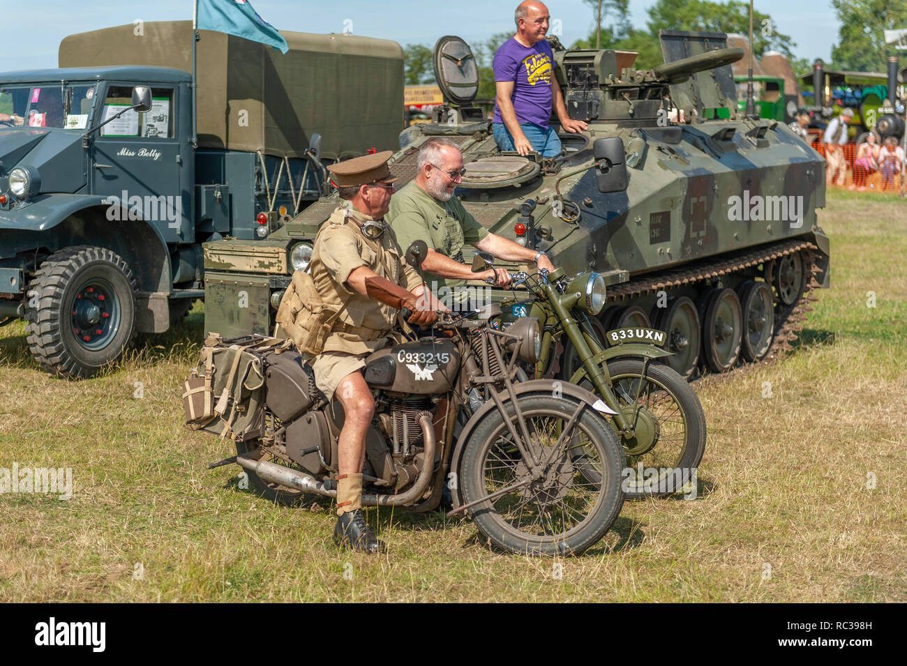 Two vintage British Army Matchless G3 350cc motorcycles at Preston Steam Rally, Kent, England - Stock Image