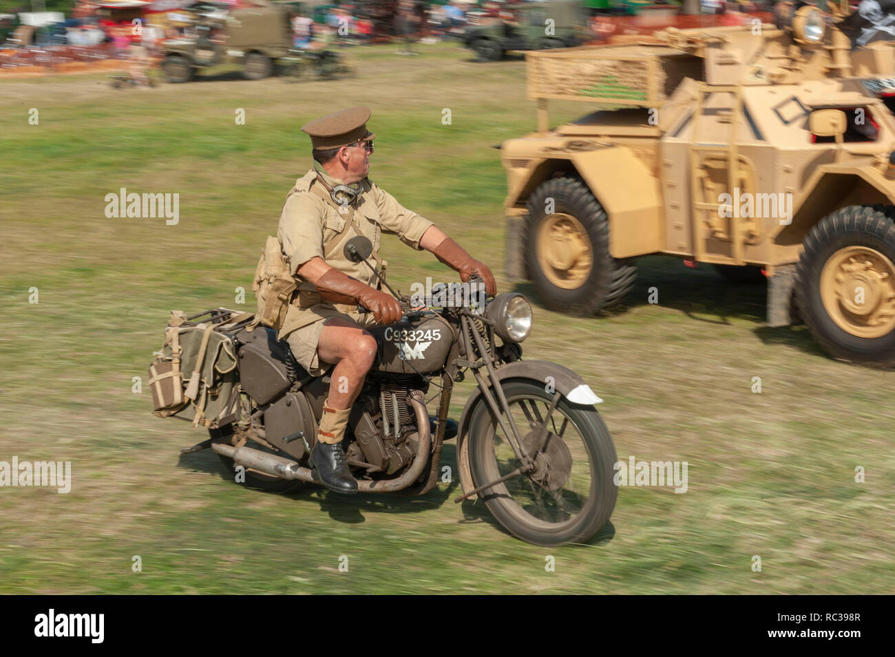 Vintage British Army Matchless G3 350cc motorcycle at Preston Steam Rally, Kent, England - Stock Image