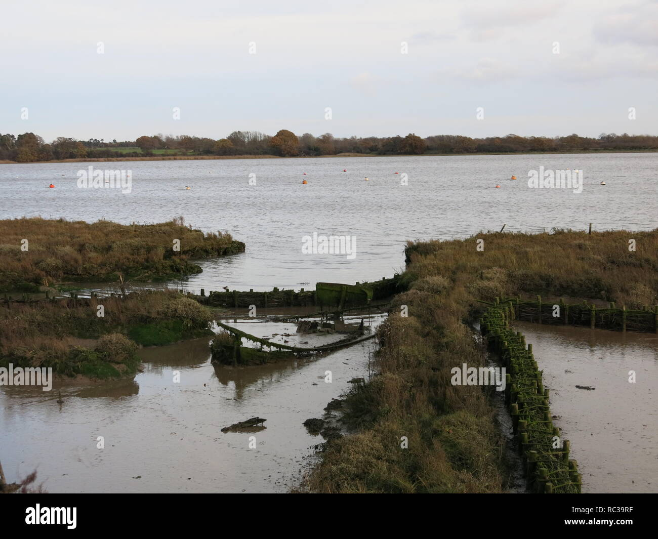 A view of the River Deben Estuary, an Area of Outstanding Natural Beauty, with mudflats and saltmarsh habitats, and walkways for ramblers Stock Photo