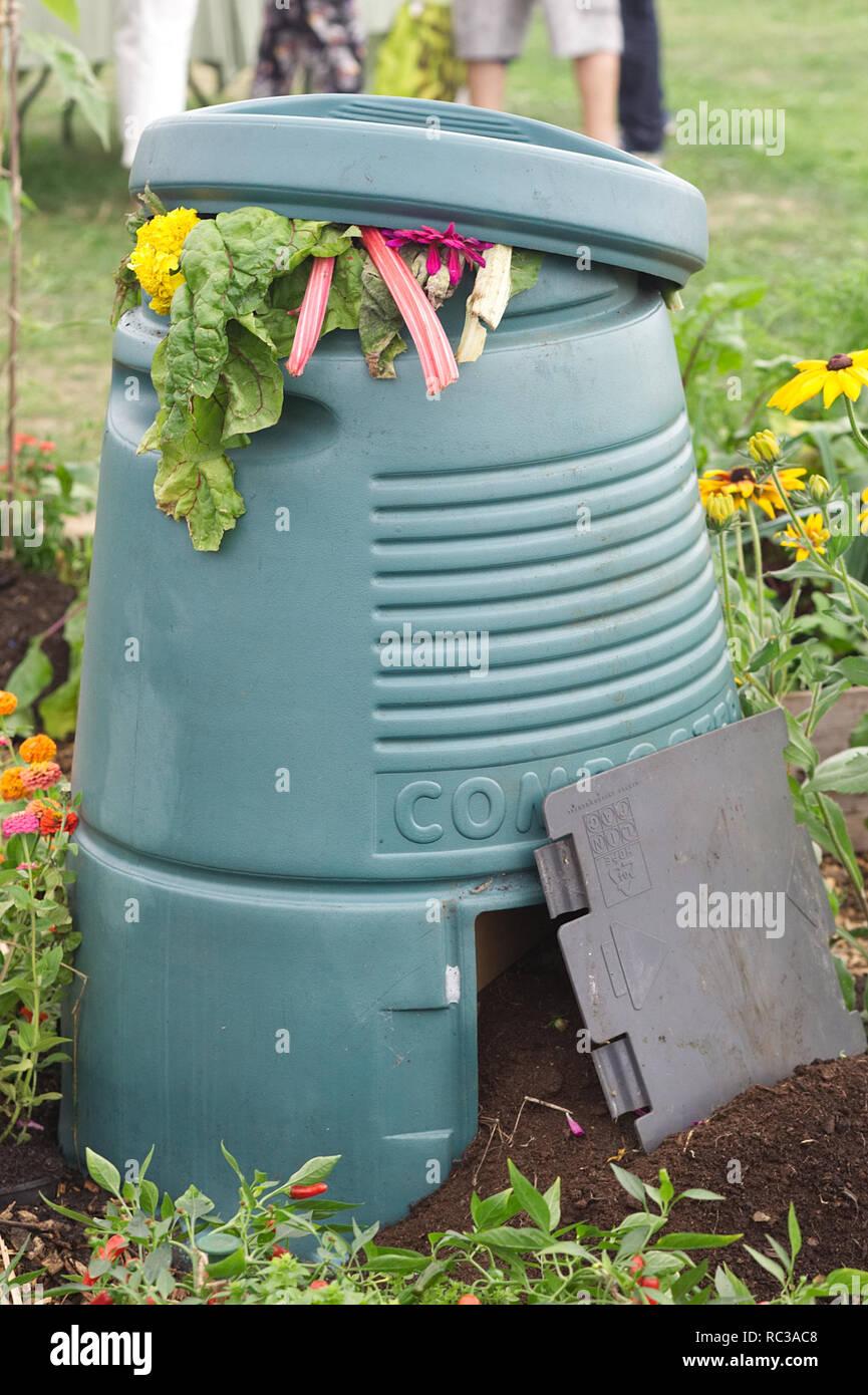 full Plastic Compost bin - Stock Image