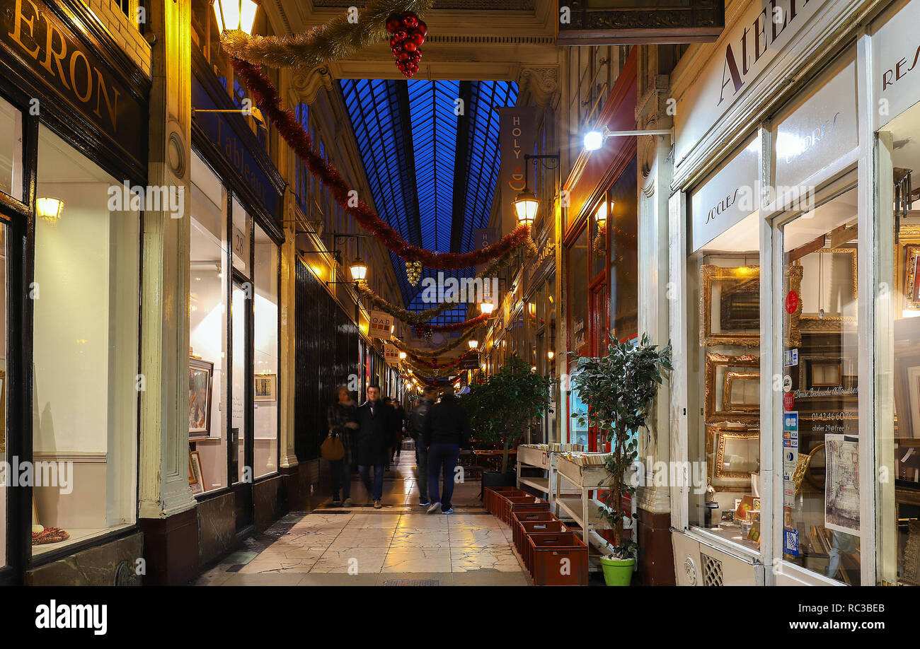 The passage Verdeau - shopping area with art galery, stores, book stores,coffee shop, confectionery. - Stock Image