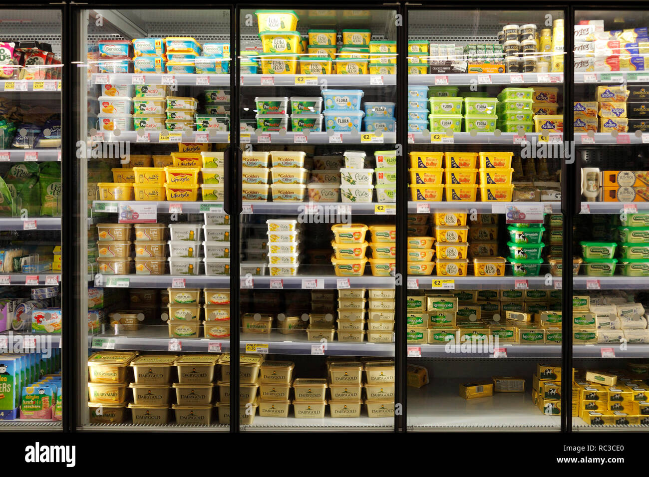butter and margarine shelf in supermarket Stock Photo