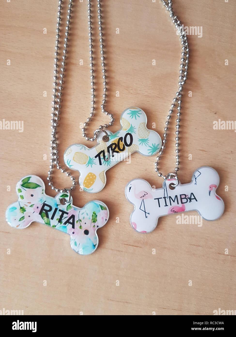 bone-shaped dog collars with names Stock Photo