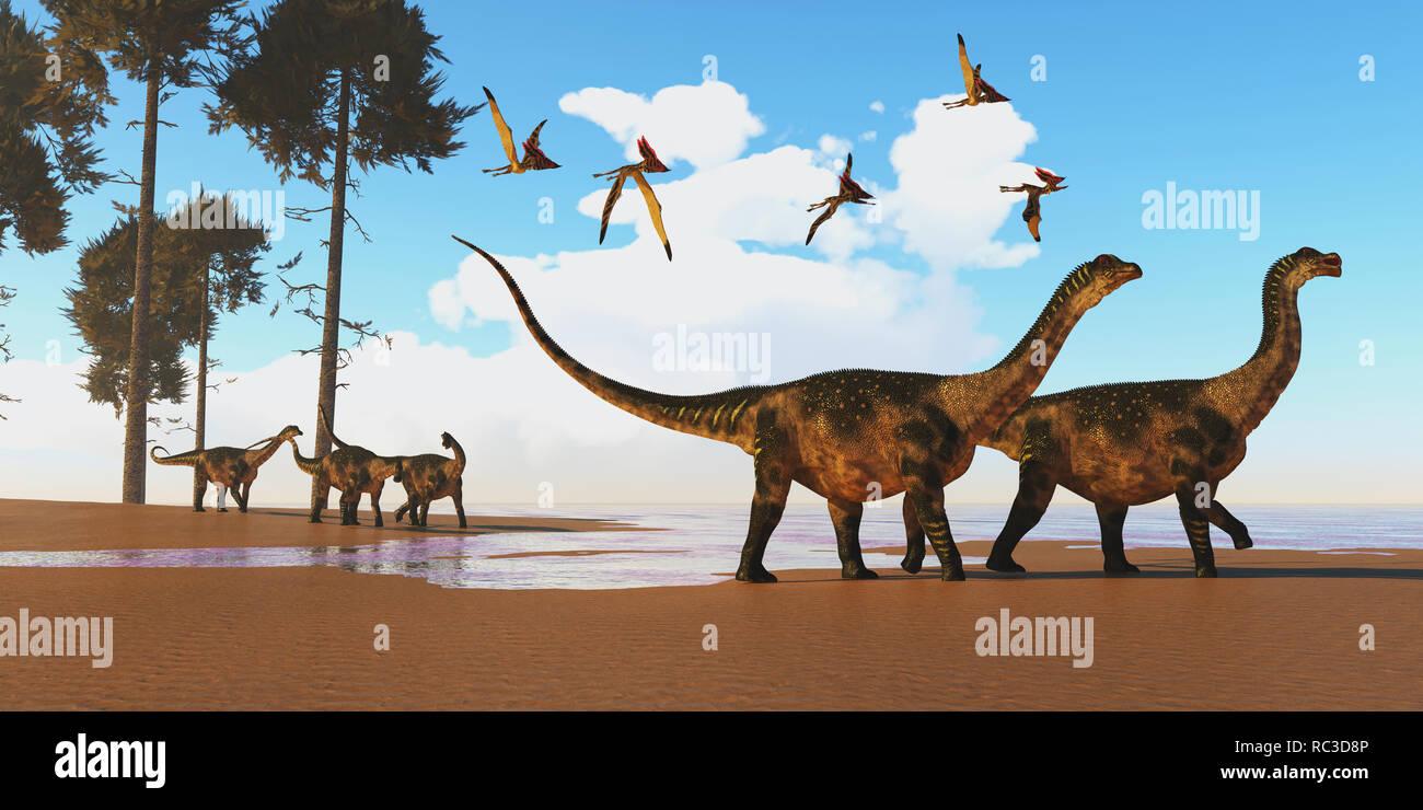 Antarctosaurus Dinosaur Seashore A flock of Thalassodromeus reptiles fly over a herd of Antarctosaurus dinosaurs on their way to search for fish prey. - Stock Image