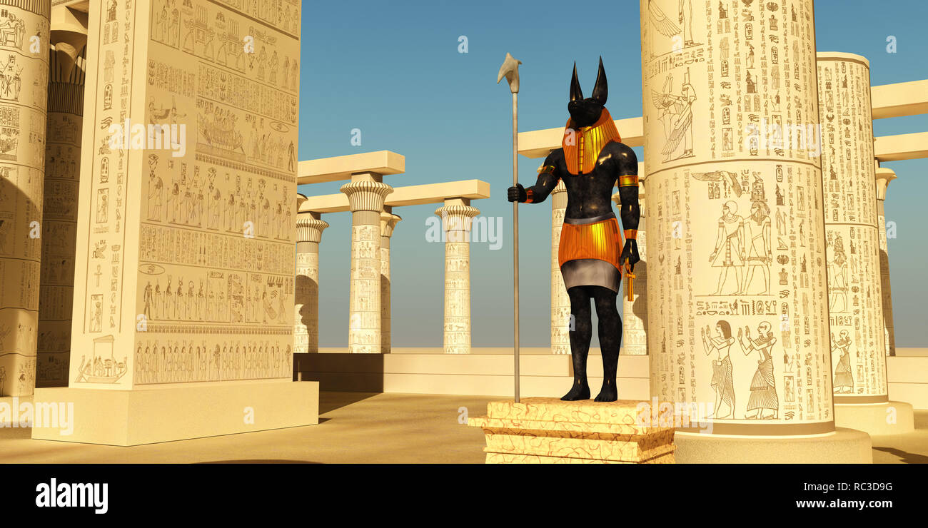Anubis Statue in Temple - Anubis in ancient Egyptian mythology was the god of the afterlife and guardian of the gates to the Underworld. - Stock Image