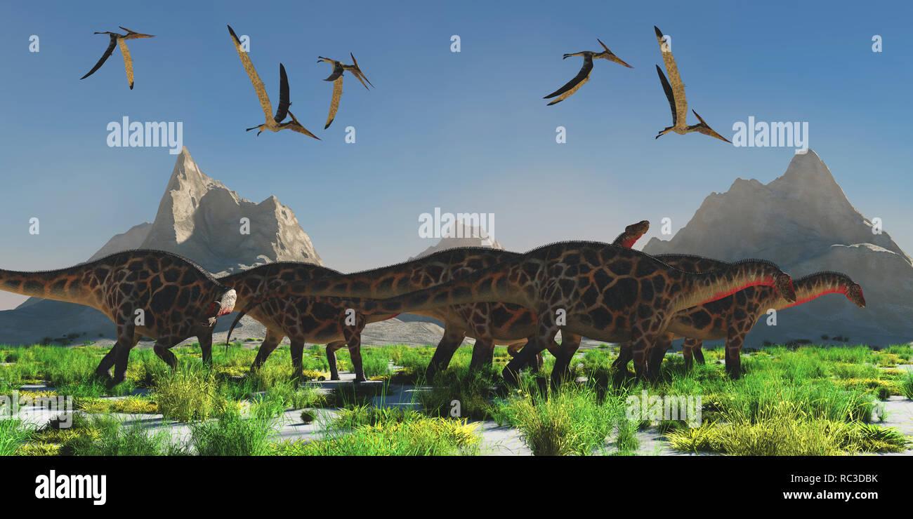 Dicraeosaurus Dinosaur Herd - A flock of Pteranodon reptiles fly over a herd of Dicraeosaurus dinosaurs during the Jurassic Period. - Stock Image