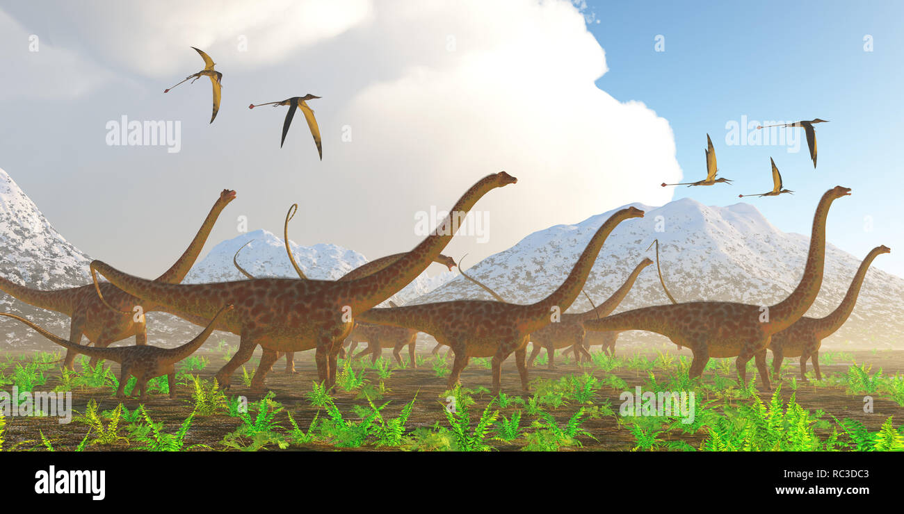 Diplodocus Dinosaur Migration -A herd of Diplodocus sauropod dinosaurs on their yearly migration encounter a flock of Rhamphorhynchus flying reptiles. - Stock Image