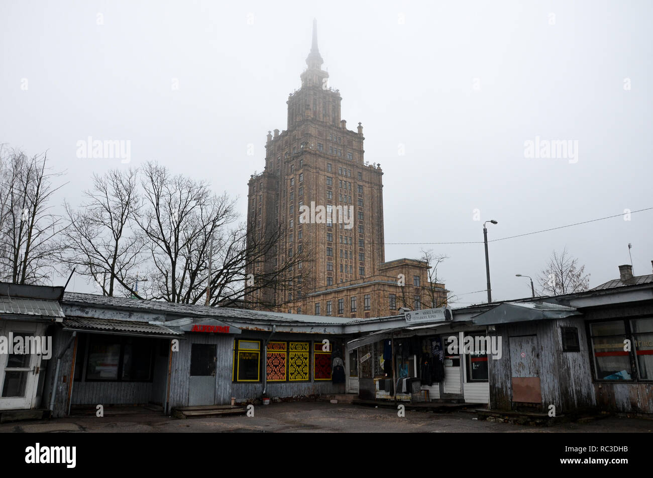 Exterior of Latvian Academy of Sciences, built between 1951 and 1961 in the Stalinist style, Riga, Republic of Latvia, Baltics, December 2018 - Stock Image