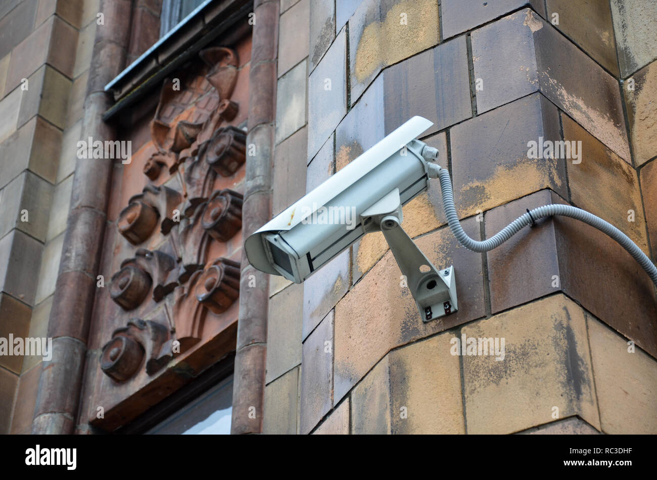 A CCTV camera, Latvian Academy of Sciences, built between 1951 and 1961 in the Stalinist style, Riga, Republic of Latvia, Baltics, December 2018 - Stock Image