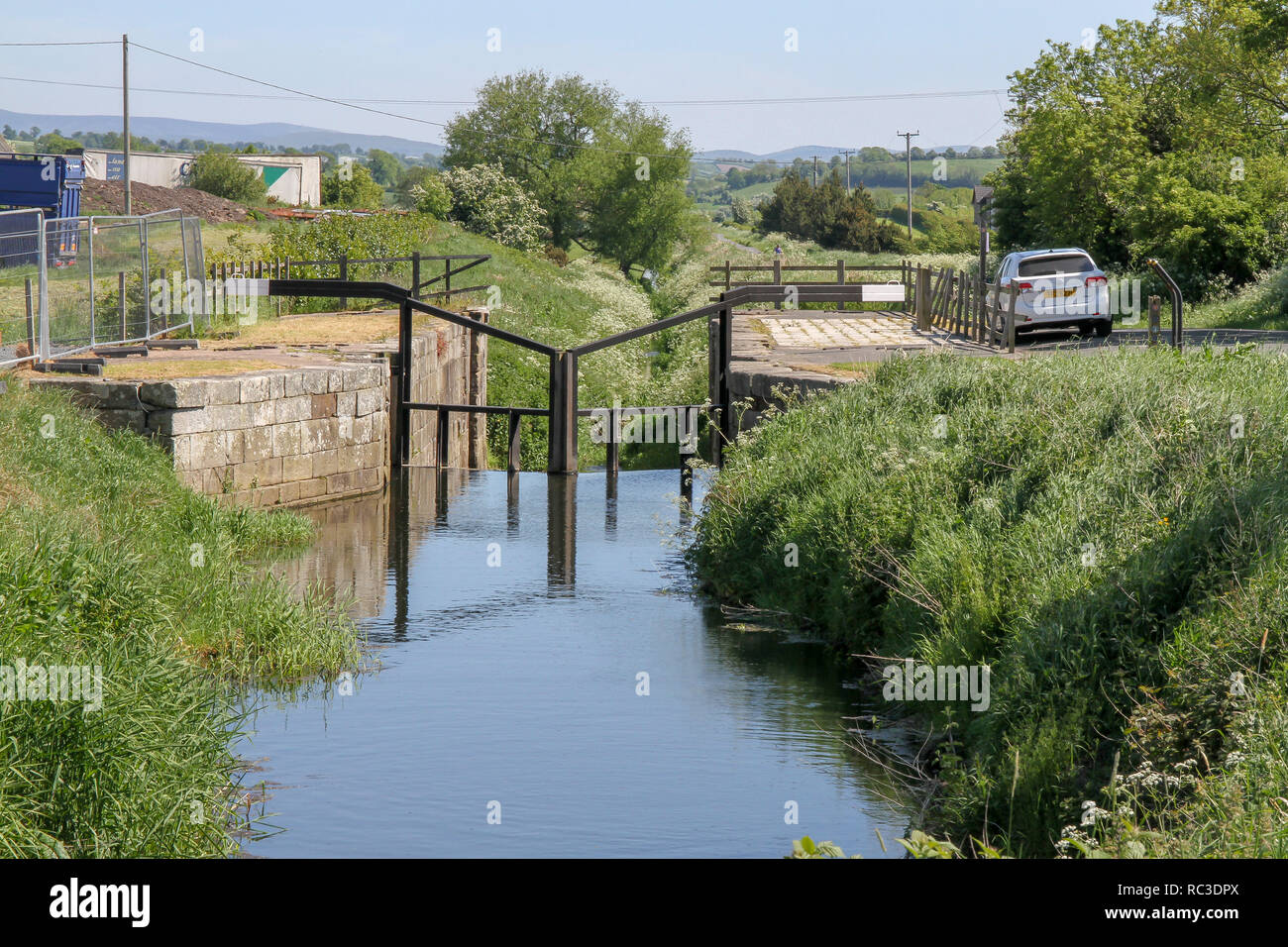 Lock on the former Newry Canal at Poyntzpass, County Down, Northern Ireland. - Stock Image