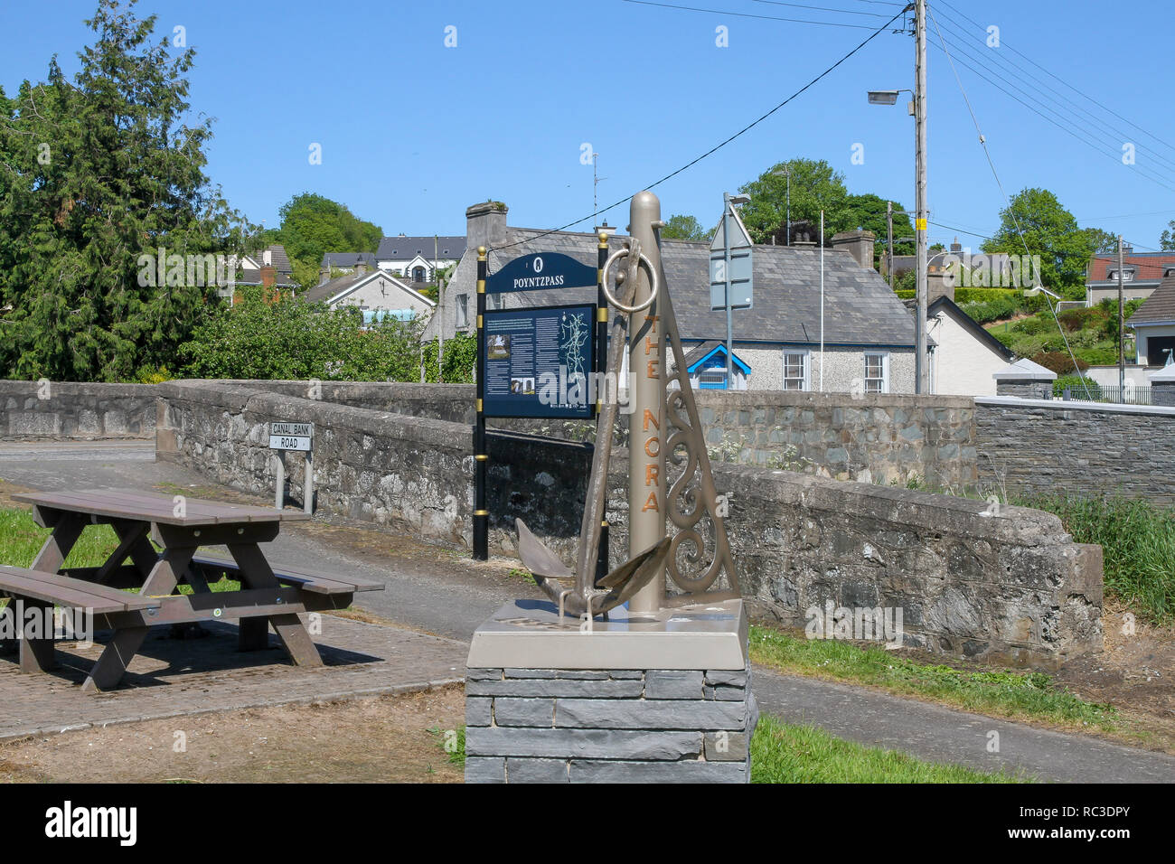 Information board and picnic area at Poyntzpass, County Down, Northern Ireland, alongside the Newry Canal. - Stock Image