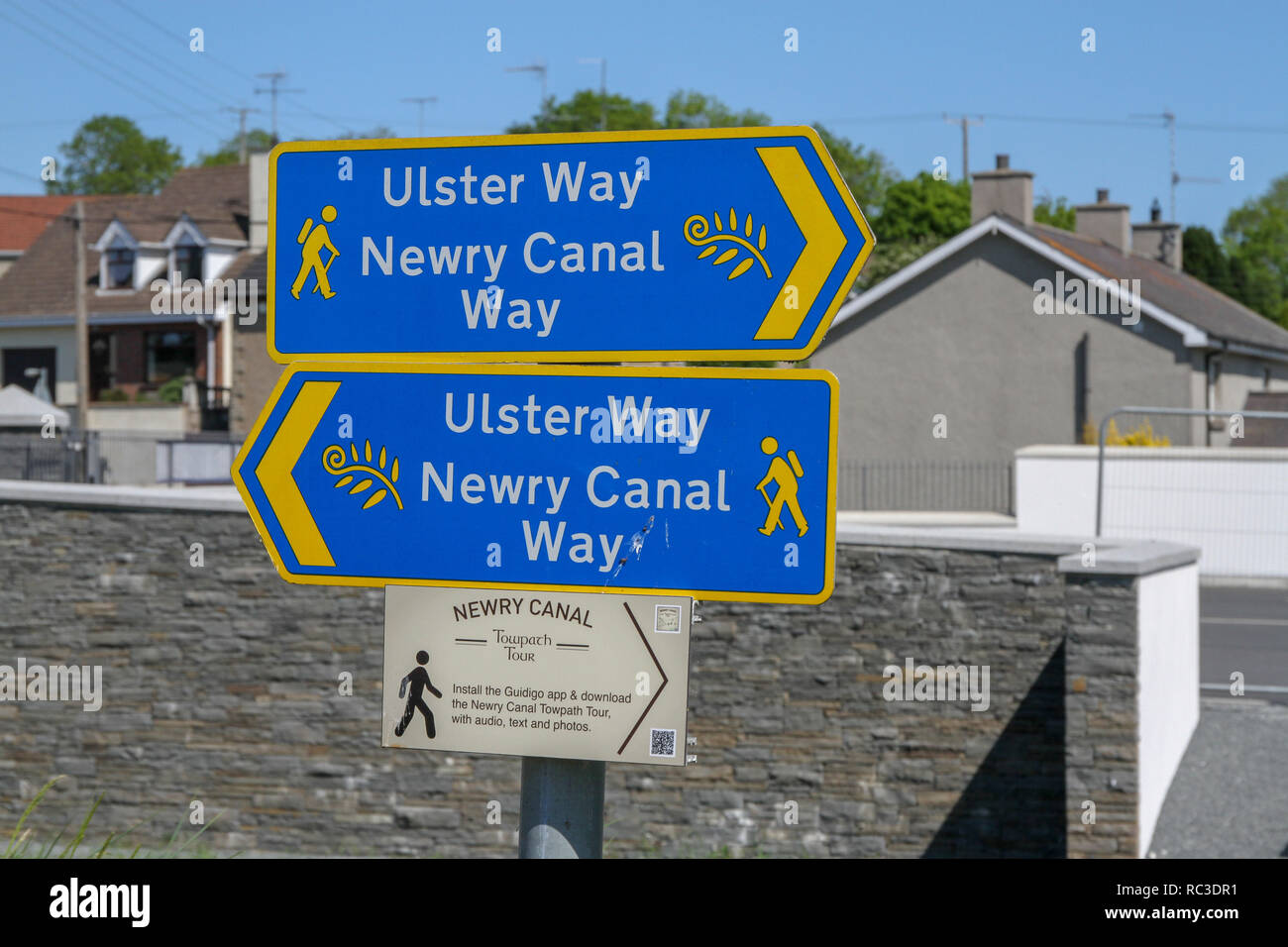 Direction signs on the Newry Canal at Jerrettspass, County Down, Northern Ireland. - Stock Image