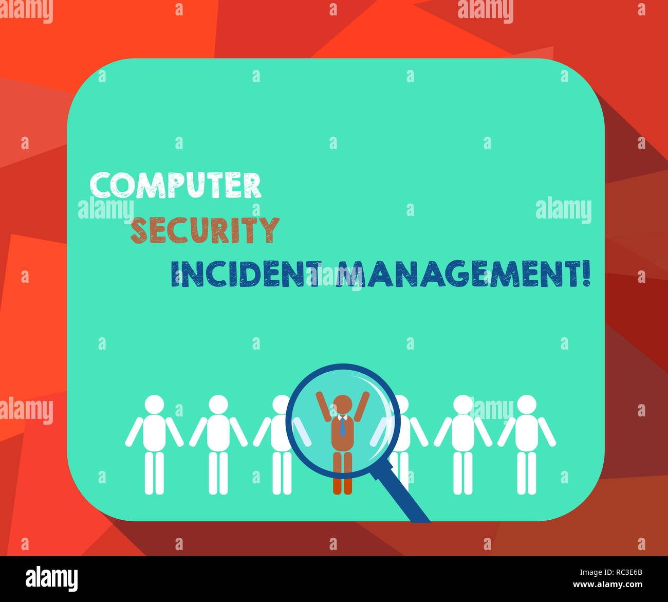 Word writing text Computer Security Incident Management. Business concept for Safe cyber technology analysisaging Magnifying Glass Over Chosen Man Fig - Stock Image