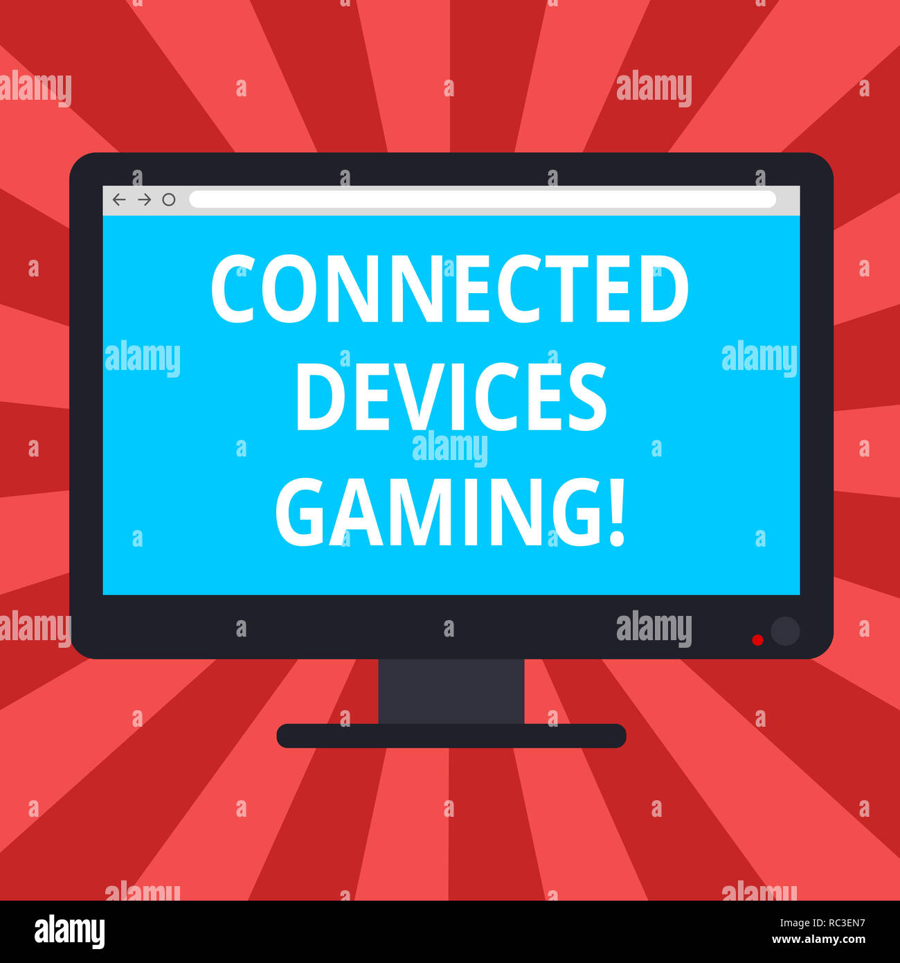 Conceptual hand writing showing Connected Devices Gaming. Business photo text devices operate interactively and autonomously Blank Computer Monitor Co - Stock Image