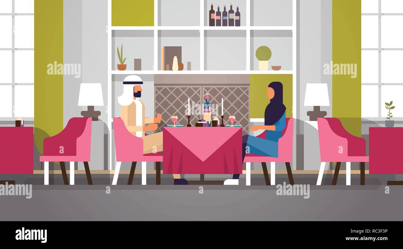 arabic couple sitting cafe table romantic dinner happy valentines day celebration concept arabic man woman love dating modern restaurant interior horizontal flat Stock Vector