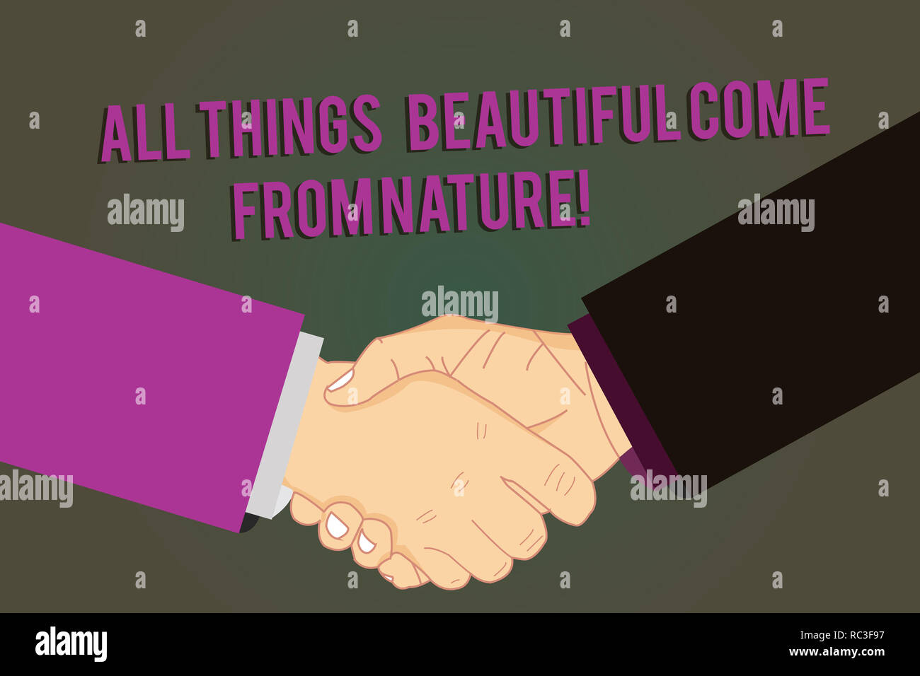 Word writing text All Things Beautiful Come From Nature. Business concept for Natural things are the prettiest Hu analysis Shaking Hands on Agreement  - Stock Image