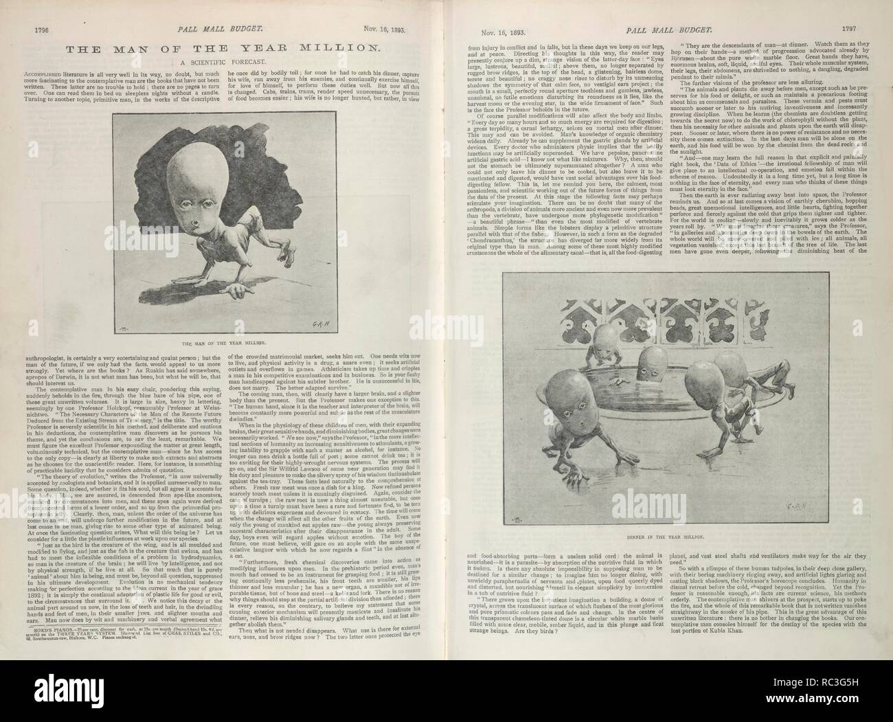 The man of the year million. A scientific forecast. Dinner in the year million. Pall Mall Budget. London, 16th November 1893. Science. A 19th century forecast of how human beings will develop in the future. Source: Pall Mall Budget, pages 1796-1797. Language: English. Stock Photo