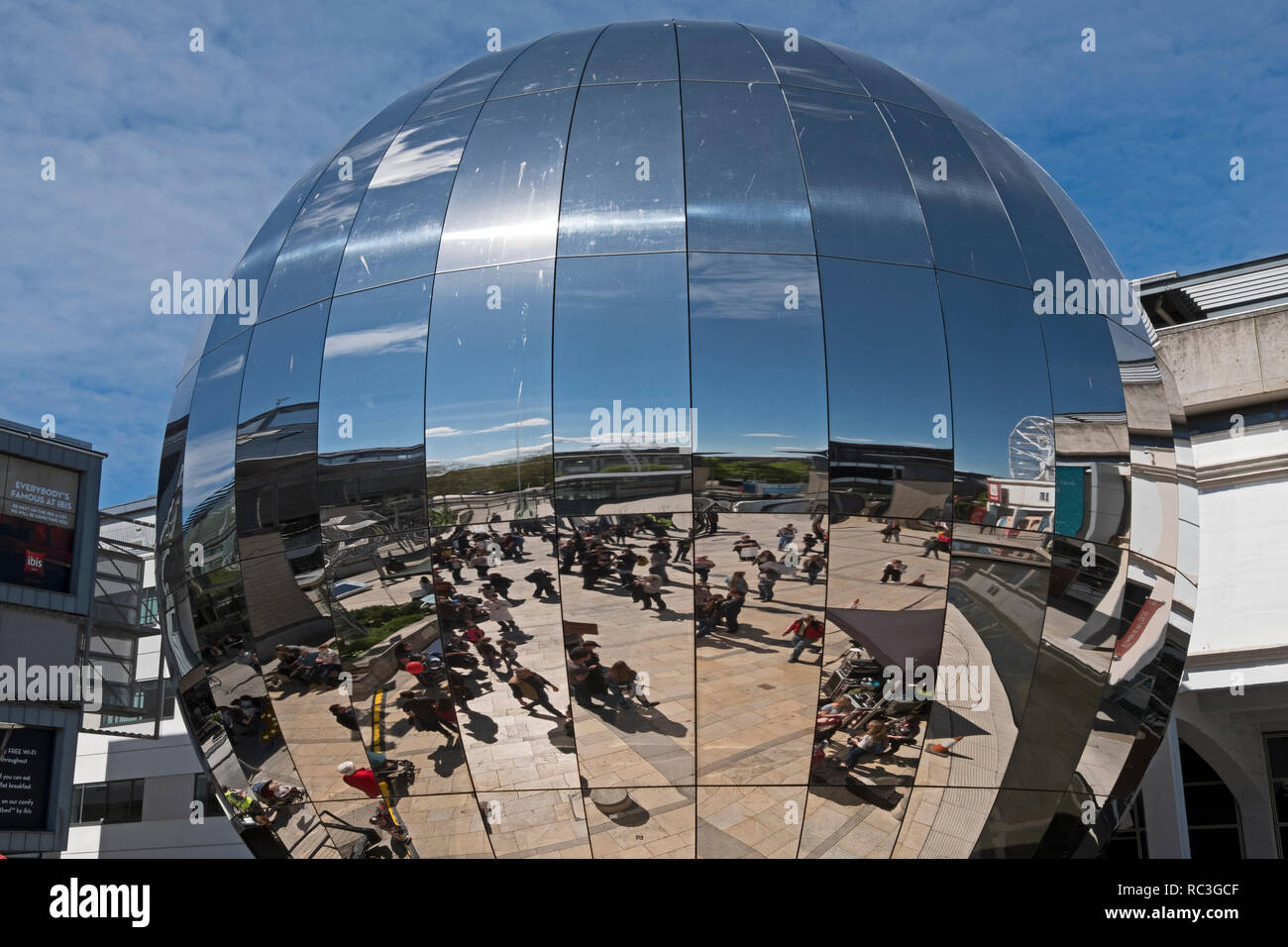 Partcipants in the March for Science are reflected in the dome of the planetarium at the At-Bristol science centre in Bristol, UK on 22 April 2017. - Stock Image