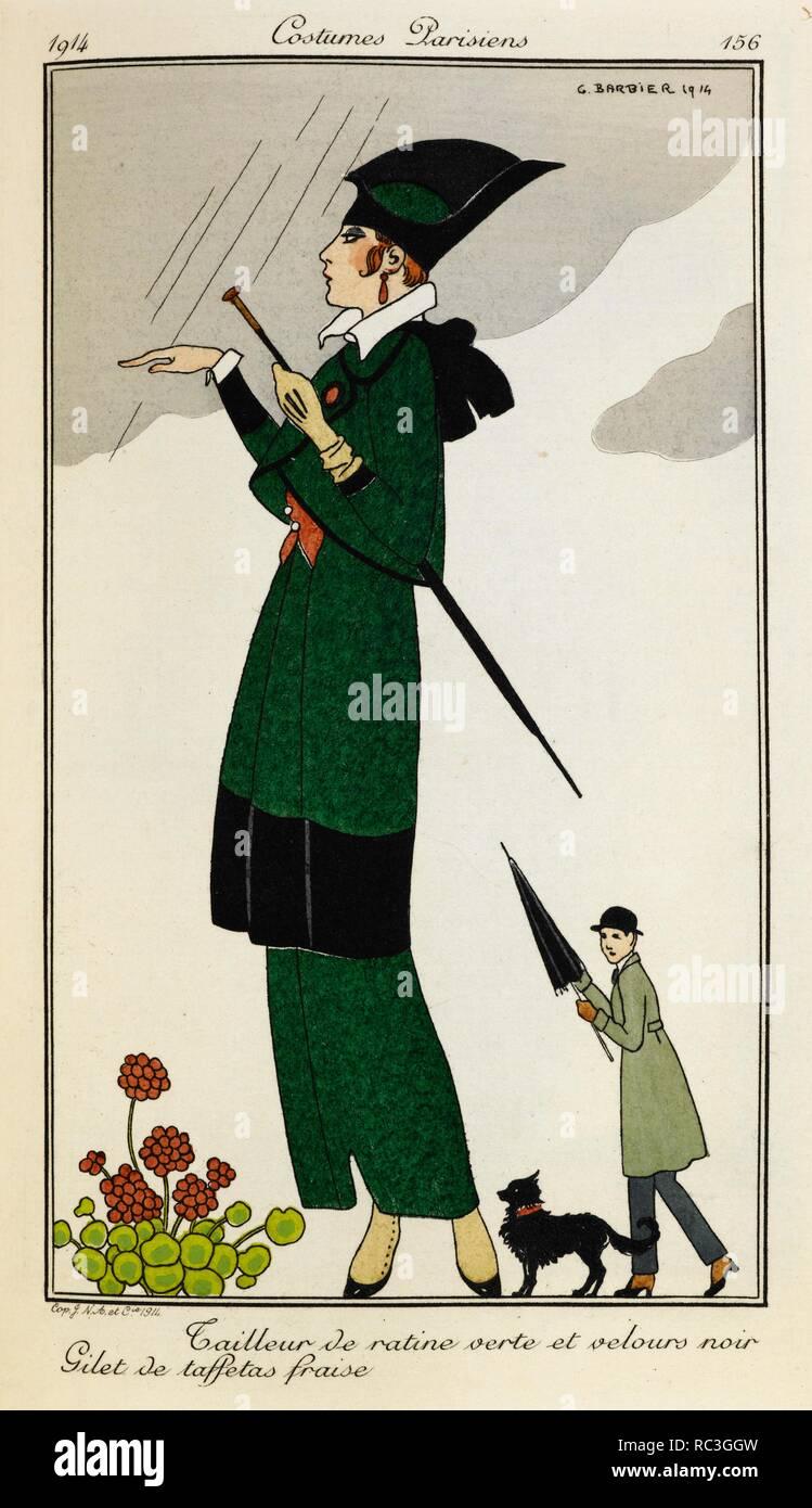 5176c6cc29e78 Tailleur de ratine verte et velours noir. Gilet de taffetas fraise. Woman  wearing a