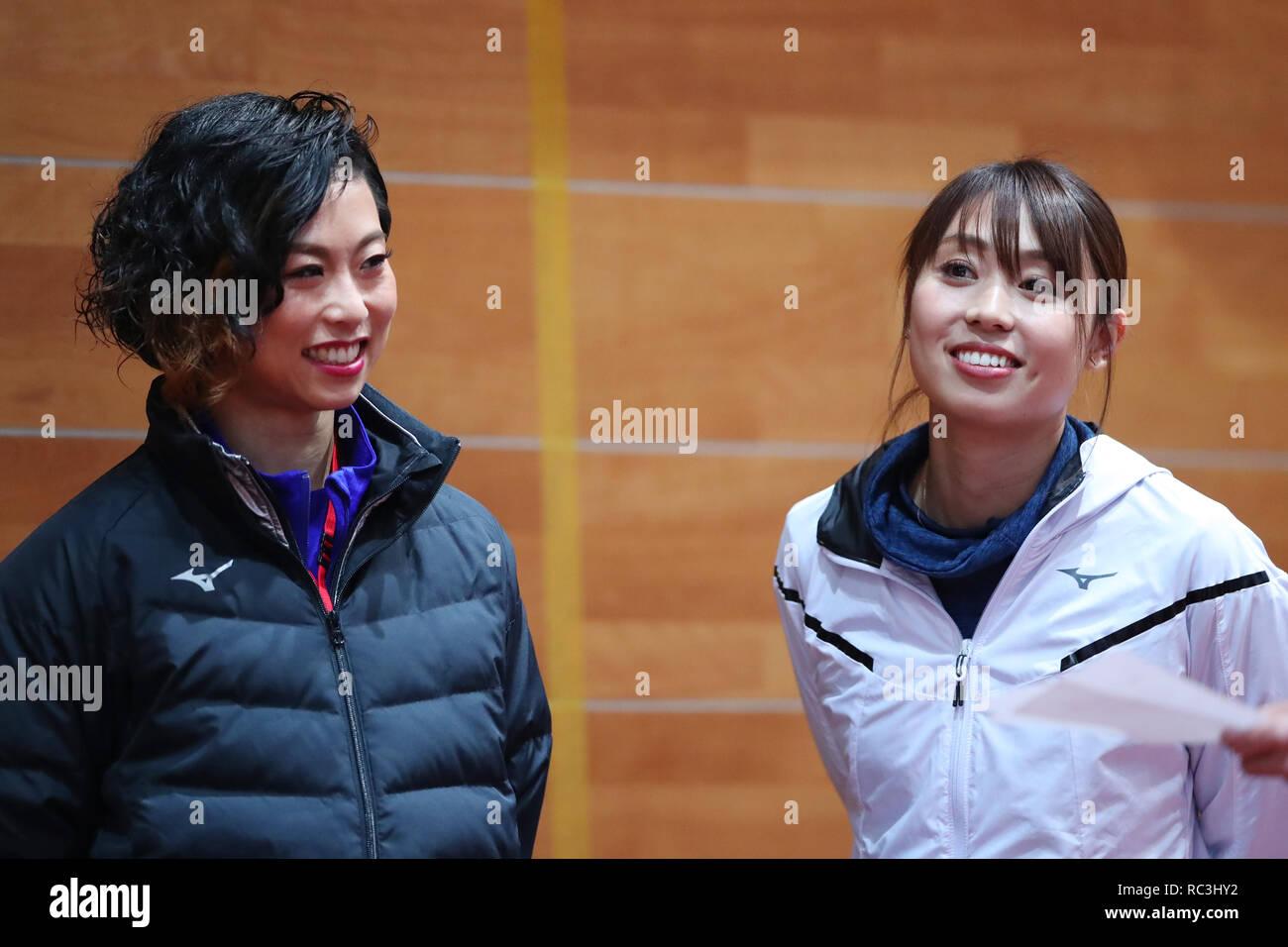 Tokyo, Japan. 13th Jan, 2019. (L-R) Maki Wada, Kana Ichikawa Athletics : JAAF women's relay sprinter selection at JISS in Tokyo, Japan . Credit: Yohei Osada/AFLO SPORT/Alamy Live News - Stock Image