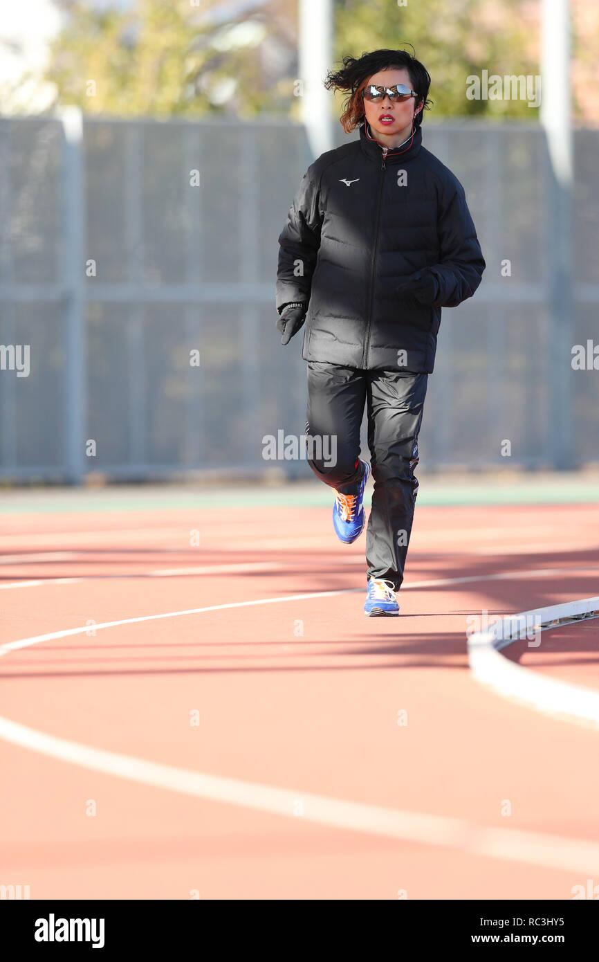Tokyo, Japan. 13th Jan, 2019. Maki Wada Athletics : JAAF women's relay sprinter selection at Ajinomoto national training cener athletis field in Tokyo, Japan . Credit: Yohei Osada/AFLO SPORT/Alamy Live News - Stock Image
