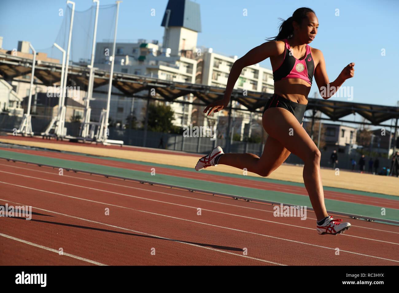 JANUARY 13, 2019 - Athletics : JAAF women's relay sprinter selection at Ajinomoto national training cener athletis field in Tokyo, Japan. Credit: Yohei Osada/AFLO SPORT/Alamy Live News - Stock Image
