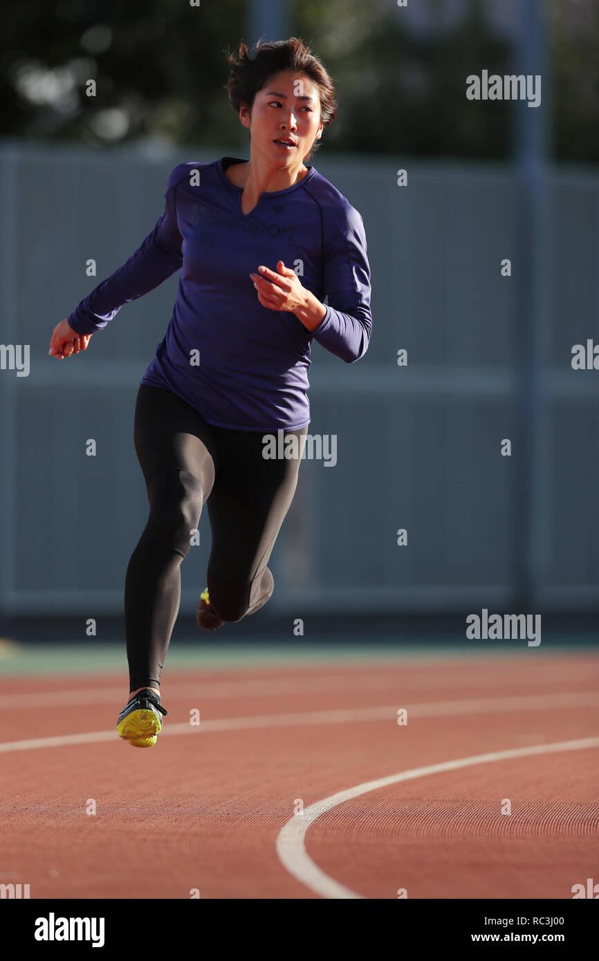 Tokyo, Japan. 13th Jan, 2019. Sae Shimada Athletics : JAAF women's relay sprinter selection at Ajinomoto national training cener athletis field in Tokyo, Japan . Credit: Yohei Osada/AFLO SPORT/Alamy Live News - Stock Image