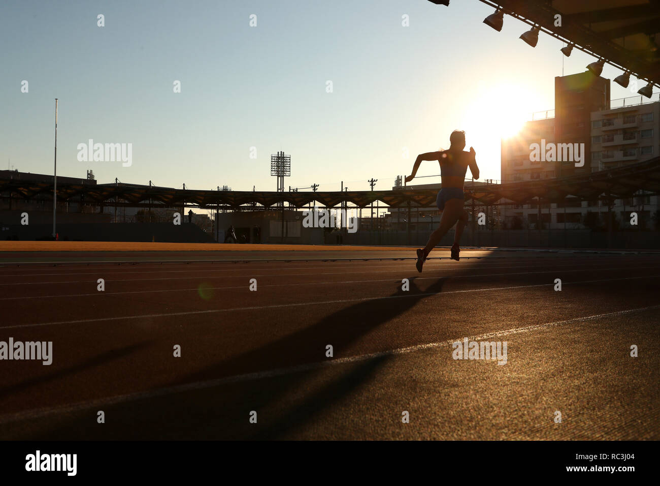 Tokyo, Japan. 13th Jan, 2019. The ambience shot Athletics : JAAF women's relay sprinter selection at Ajinomoto national training cener athletis field in Tokyo, Japan . Credit: Yohei Osada/AFLO SPORT/Alamy Live News - Stock Image