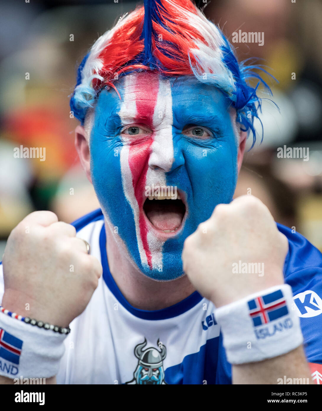 Munich, Germany. 13th Janaury 2019. Handball: World Championship, Spain - Iceland, preliminary round, Group B, 2nd matchday in the Olympic Hall. Fans from Iceland come to the hall before the game. Photo: Sven Hoppe/dpa Credit: dpa picture alliance/Alamy Live News - Stock Image