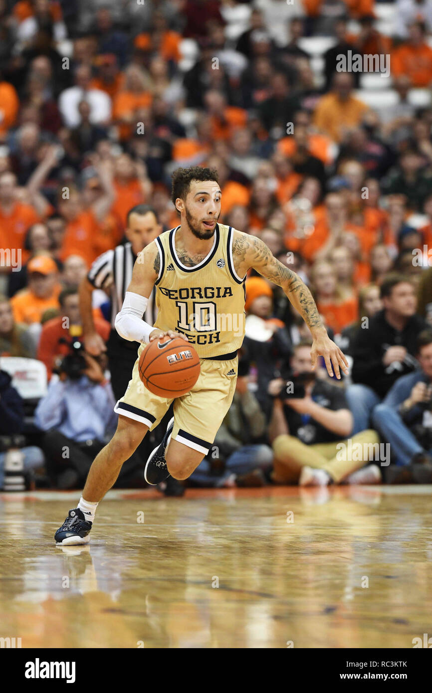 Syracuse, NY, USA. 12th Jan, 2019. Georgia Tech guard Jose Alvarado (10) takes the ball down court during the first half of play. Georgia Tech defeated Syracuse 73-59 at the Carrier Dome in Syracuse, NY. Photo by Alan Schwartz/Cal Sport Media/Alamy Live News - Stock Image