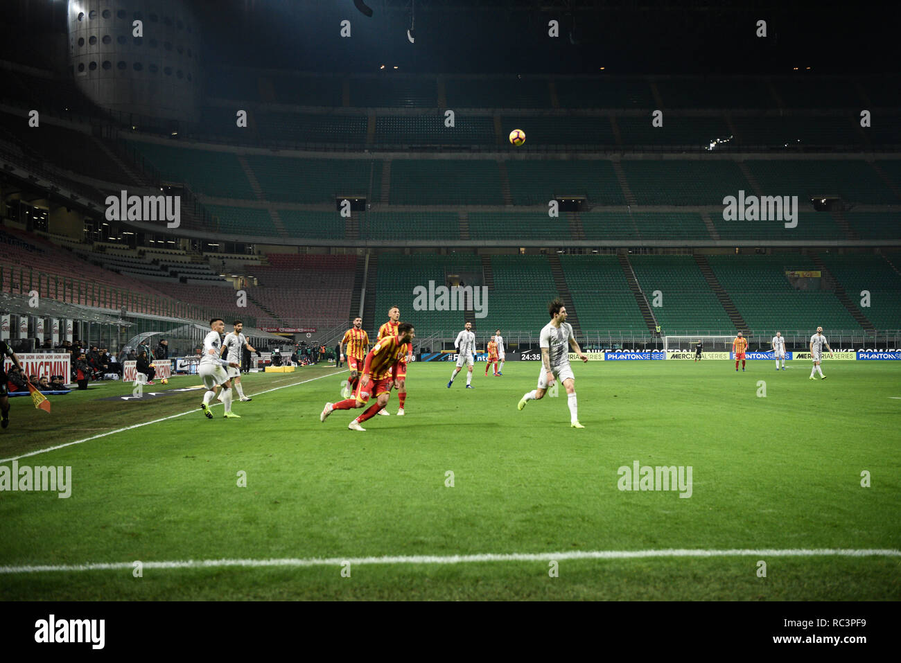 Milan, Italy. 13th Jan 2019. A general view of the empty stadium during the Italian Cup 'Coppa Italia' football match, Inter Milan vs Benevento Calcio at San Siro Meazza Stadium in Milan, Italy on 13 January 2019. The football match is played behind closed doors after Napoli's Senegalese player Kalidou Koulibaly was subject to racist chants by FC Internazionale's 'ultra' fans during the Boxing Day match. Credit: Piero Cruciatti/Alamy Live News - Stock Image